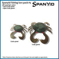 Pack #4, Pack Includes: a 22pcs collection of Spanyid favourite lures (12pcs Crab 25mm and 10pcs crab 35mm in pack)