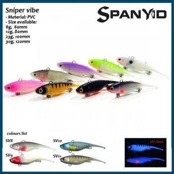 Pack #5, 10pcs Spanyid soft plastic Fishing lures (10pcs Sniper vibe 23g in pack)